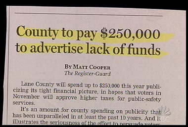 county to pay $250,000 to advertise lack of funds