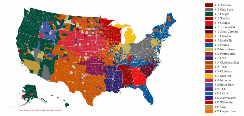 college football allegiance by county