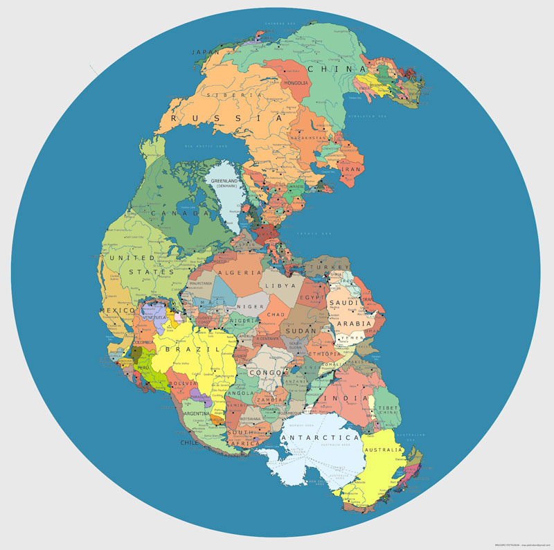 map of 'pangea' with current international borders