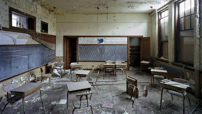 a former classroom, at the st. margaret mary school in detroit
