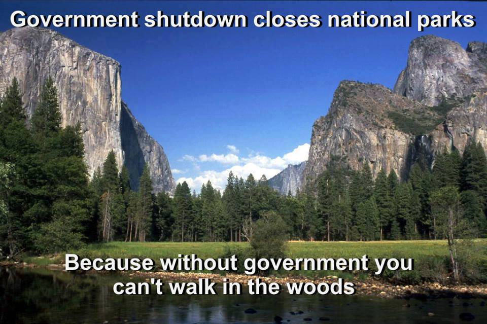 because without government you can't walk in the woods