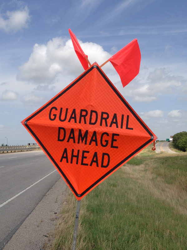 guardrail damage ahead