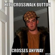 cross walk button-pushing pedestrians